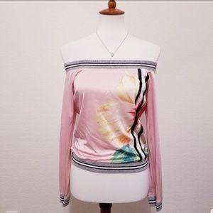 Express Off the Shoulder Sweatshirt Floral Print